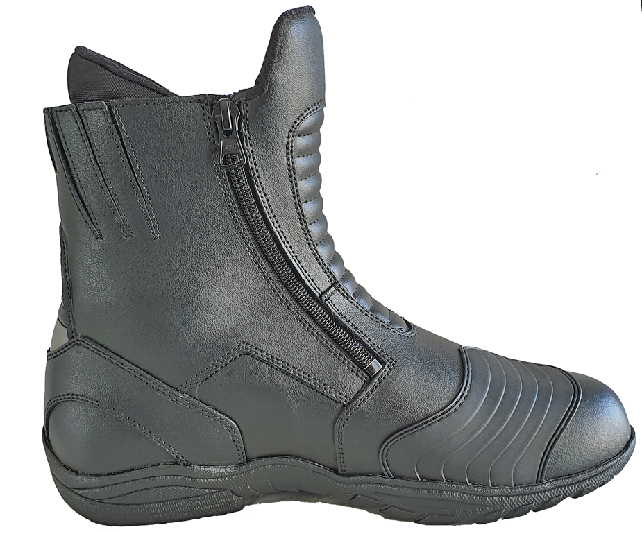 Double Zipper Leather Motorcycle Boot-
