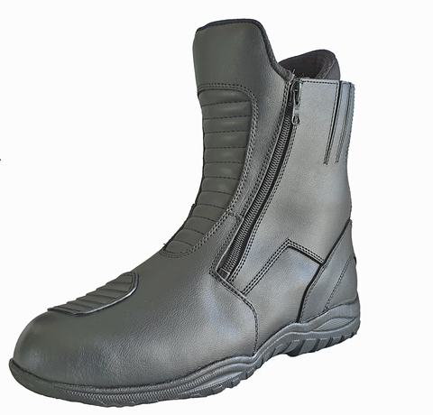 Image of Double Zipper Leather Motorcycle Boot-