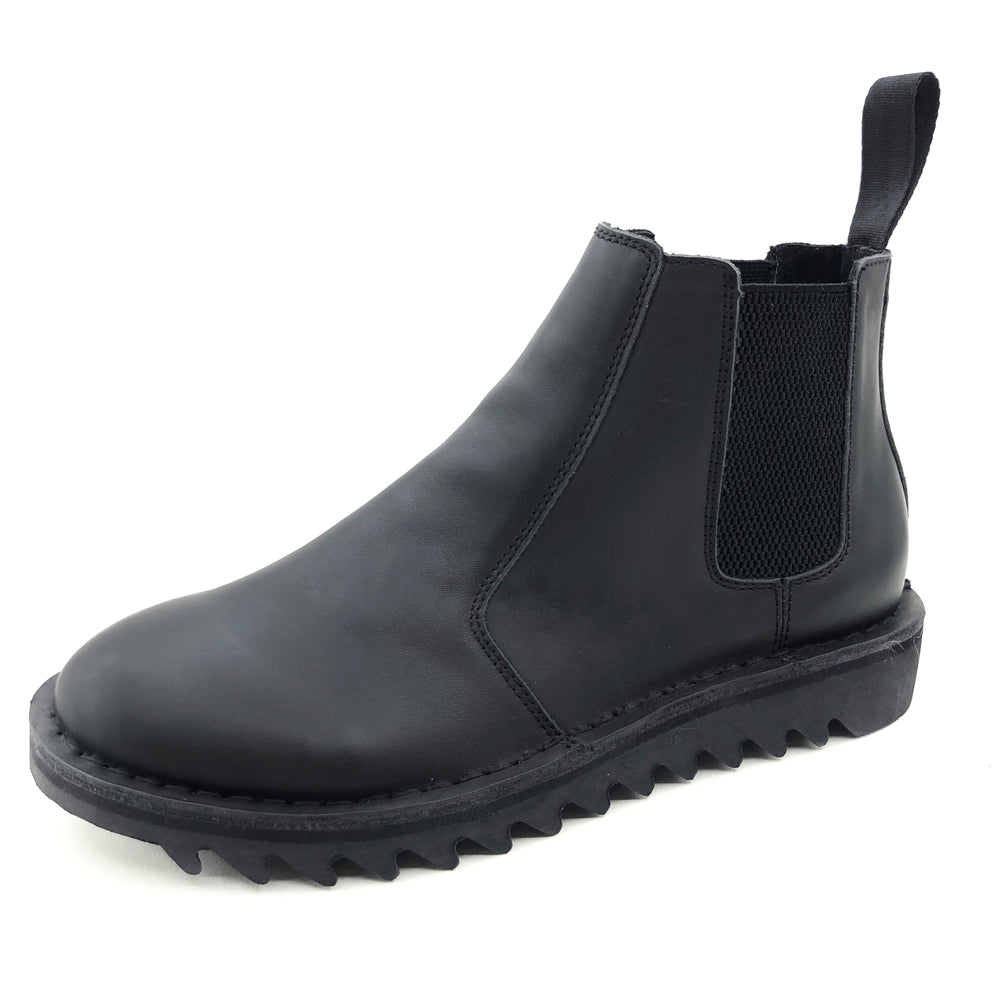 Genuine Rollers Ripple Sole Black Leather Slip On Boot