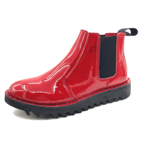 Genuine Rollers Womens Patent Leather Slip On Boot Red