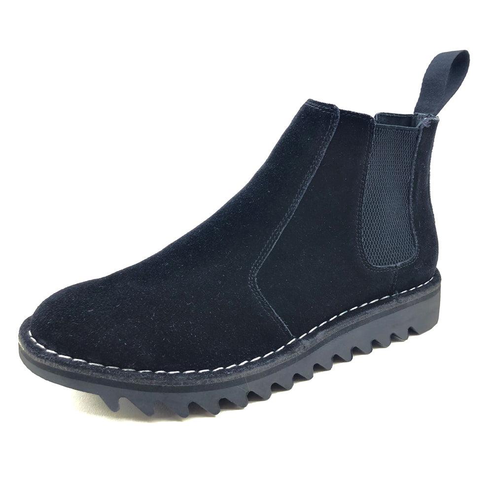Genuine Rollers Womens Suede Leather Slip On Boot Black