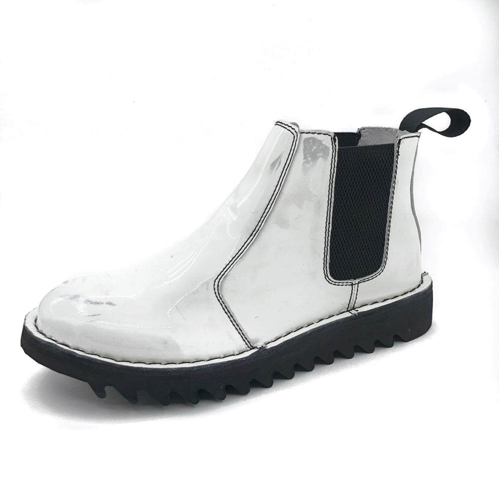 Genuine Rollers Womens Patent Leather Slip On Boot White