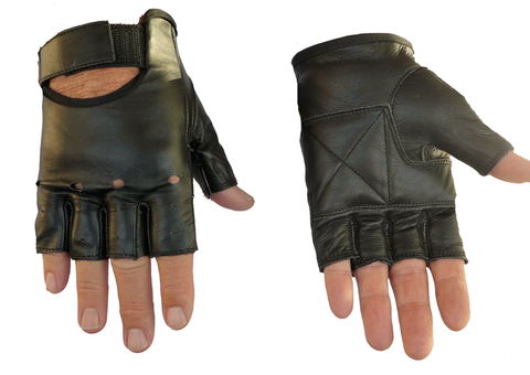 Leather Fingerless Motorcyle Gloves Size M Only