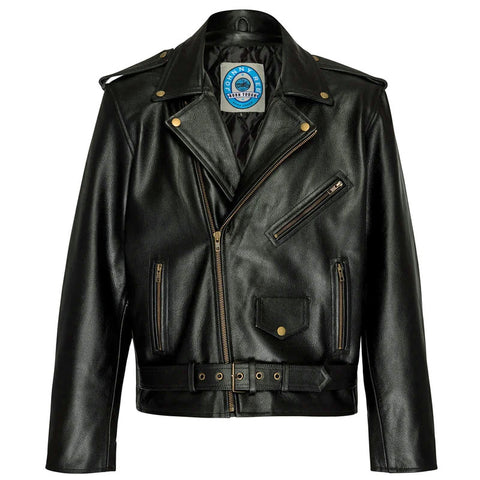 Image of Brando Style Leather Motorcycle Jacket