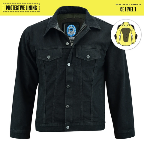Image of Men's Glenbrook Denim Protective Jacket -Black