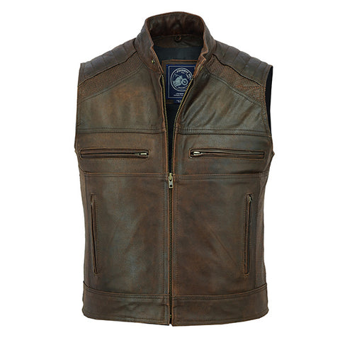 Johnny Reb Botany Vintage Leather Vest-Brown