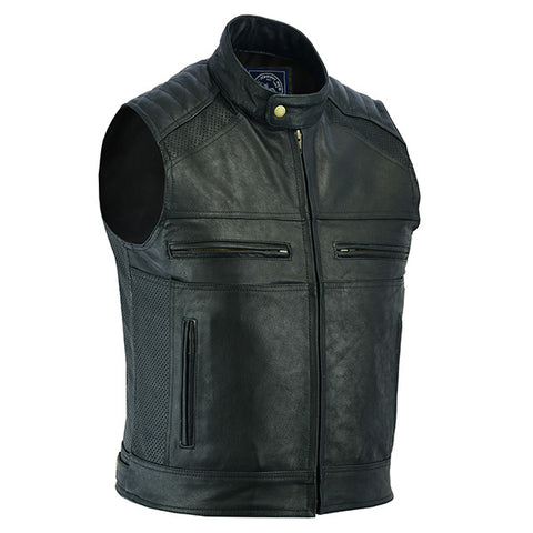 Image of Johnny Reb Botany Vintage Leather Vest-Black
