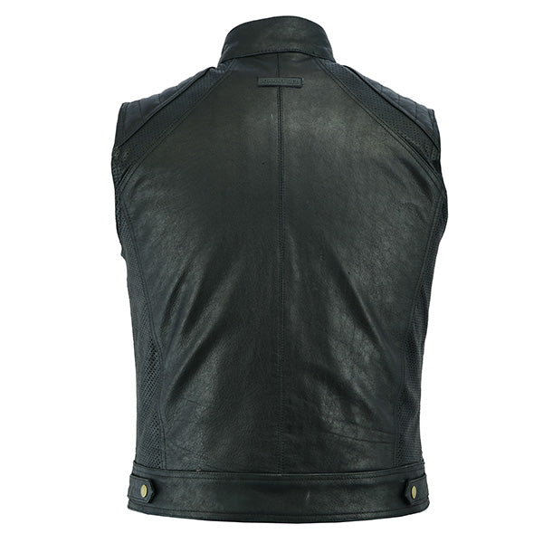 Johnny Reb Botany Vintage Leather Vest-Black