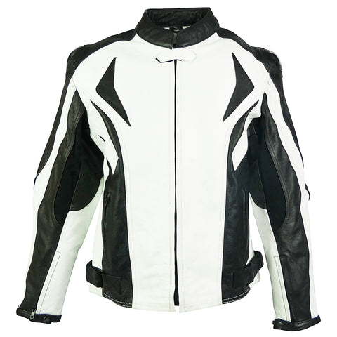 Image of Sports Style Black White Motorcycle Jacket-Lightning