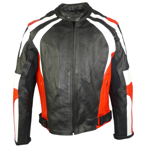 Sports Style Red White Motorcycle Jacket-Thunder