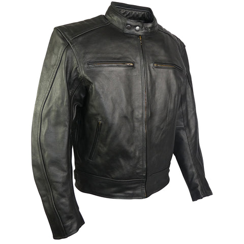 Image of Classic Style Leather Motorcycle Jacket-Turbo