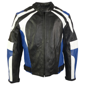 Sports Style Blue White Motorcycle Jacket-Thunder Blue
