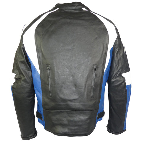Image of Sports Style Blue White Motorcycle Jacket-Thunder Blue