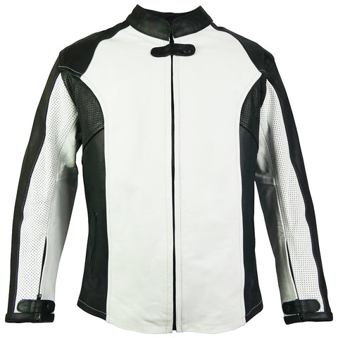 Womens Perforated Leather Sport Rider Jacket-Jade