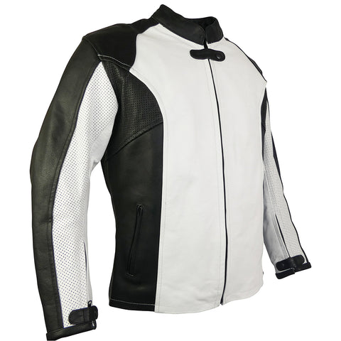 Image of Womens Perforated Leather Sport Rider Jacket-Jade