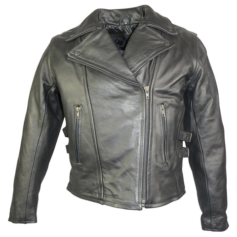 Classic Ladies Premium Grade Leather Jacket-Pearl