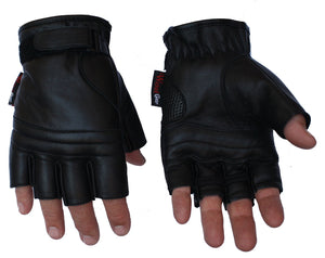Premium Grade Leather Fingerless Motorcyle Gloves