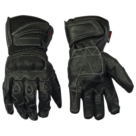 Image of Leather And Mesh Lightweight Summer Motorcycle Gloves