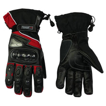 Load image into Gallery viewer, Leather And Textile Winter Gloves Red