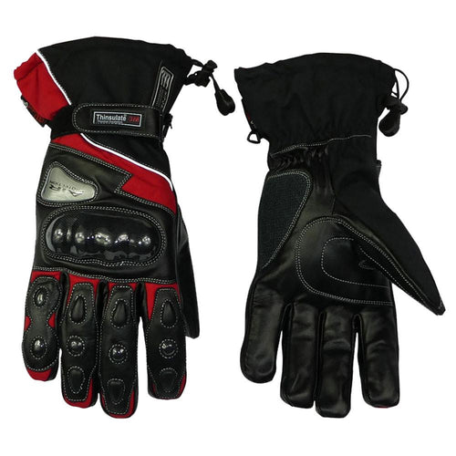 Leather And Textile Winter Gloves Red