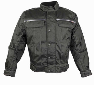 All Black Riding Jacket With Zippered Air Vents-Don-LAST ONE! 4XL