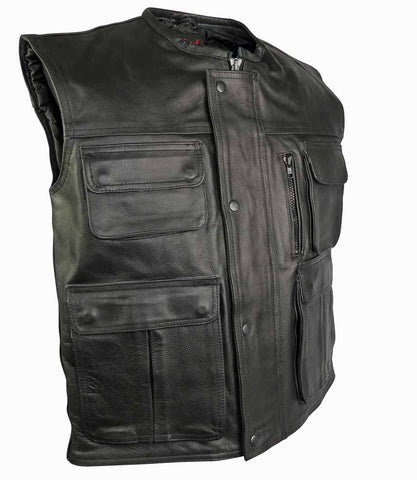 Image of Multi Pocket Stud And Zip Front Closure Leather Vest-Hunter