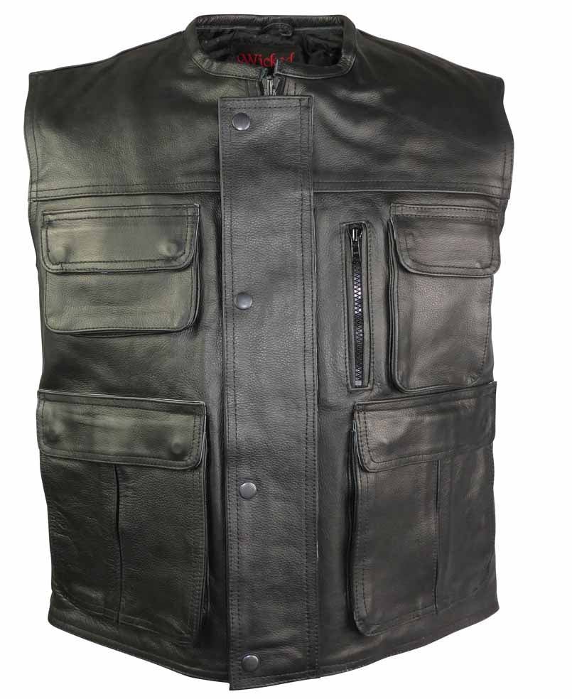 Multi Pocket Stud And Zip Front Closure Leather Vest-Hunter