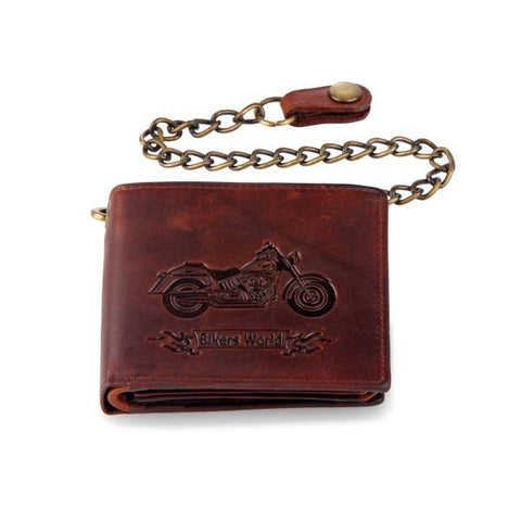 Biker Chain Wallet Brown Genuine Leather