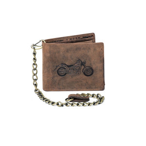 Vintage Genuine Leather Biker Chain Wallet Brown