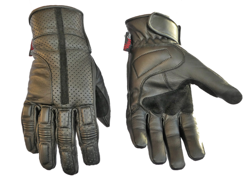 Image of Soft Feel Genuine Leather Perforated And Breathable Gloves-Visor-LAST ONE SIZE S