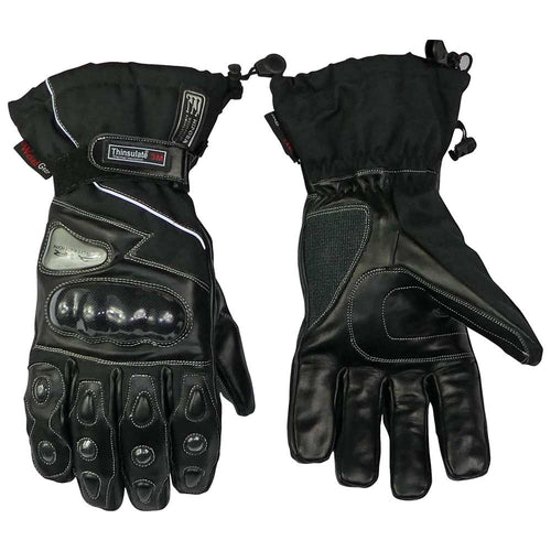 Leather And Textile Winter Gloves Blk