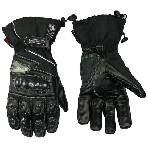 Image of Leather And Textile Winter Gloves Blk