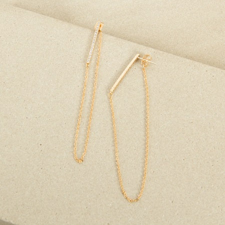 Bar & Chain Loop Earrings