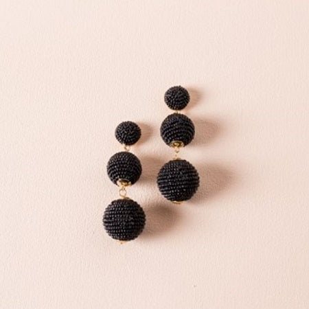 Trio Beaded Ball Earrings