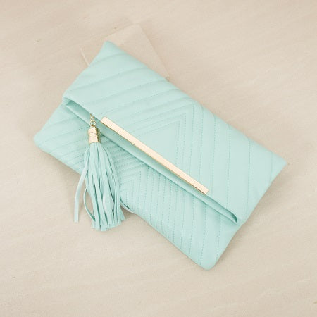 Quilted Fold Over Tassel Clutch