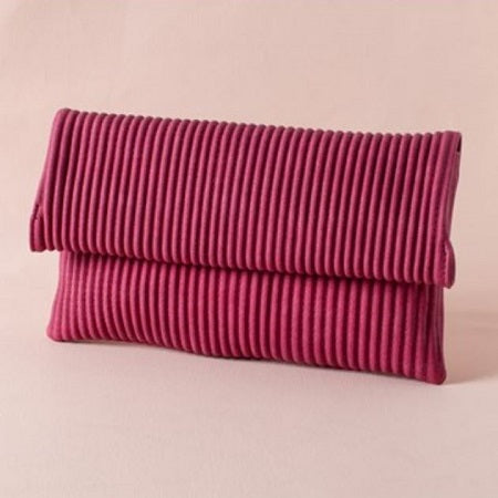 Pleated Fold Over Clutch