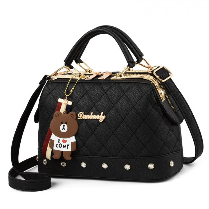 Quilted Handbag With Stud and Teddy Bear Detail