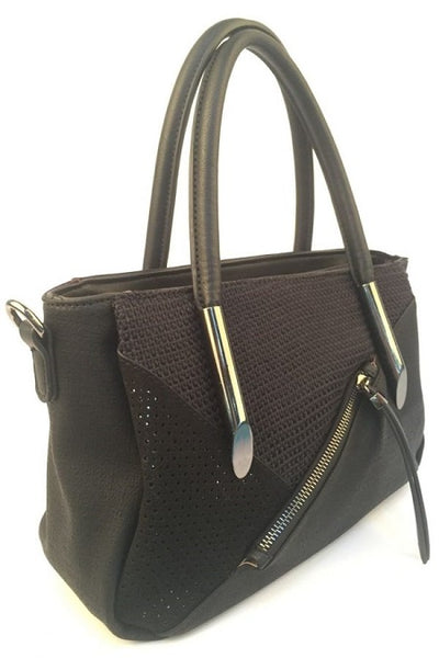 Fay Textured Handbag Black