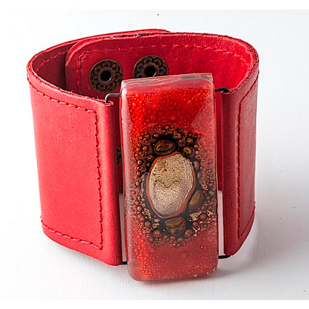 Glass and Leather Cuff