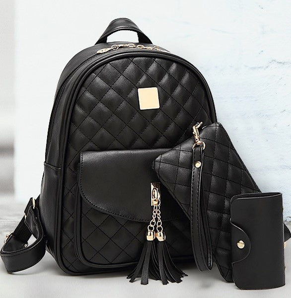 Diamond Tassel Backpack Set