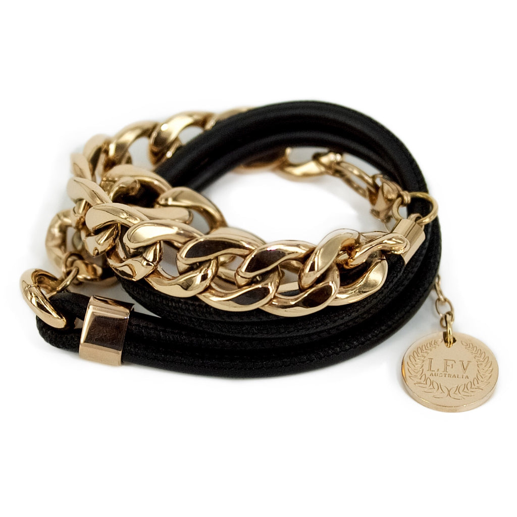 LFV Metal Chain with Black Leather Wrap Xmas Special 15% off - Allure Bags and Essentials