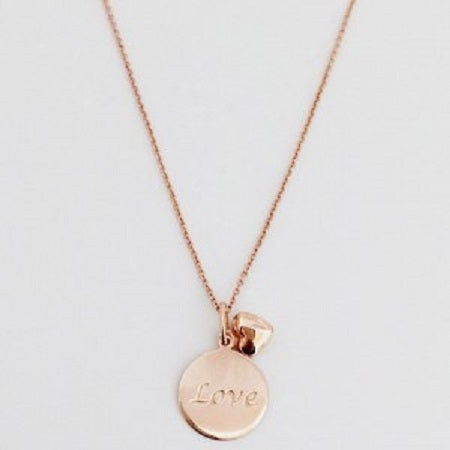 Love Disc and Heart Necklace
