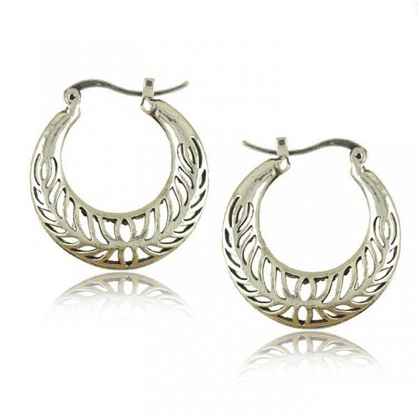 Carving Antique Silver Earrings