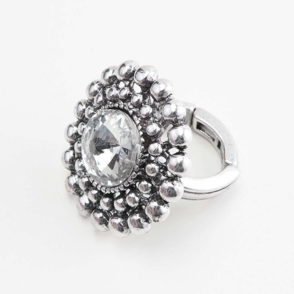 Ring Silver Stretch Layered Ball - Allure Bags and Essentials