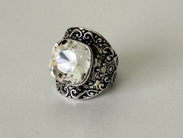 Ring Antique Silver with Large Stone - Allure Bags and Essentials