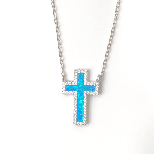 Opalite Diamanté Cross