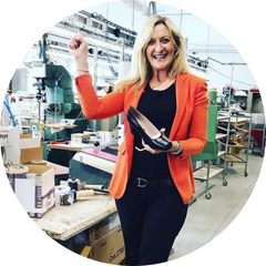 Founder of Louise M shoes Louise Matson in the factory in Italy