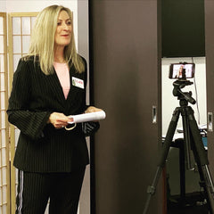 Luxury corporate women's shoe brand Louise M, Founder and Managing Director Louise Matson Presenting on Camera