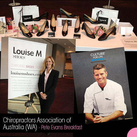 Louise M shoes at Chiropractors Association of Australia (WA) Pete Evans breakfast. Showing black leather ladies court shoes for airline cabin crew and corporate women.