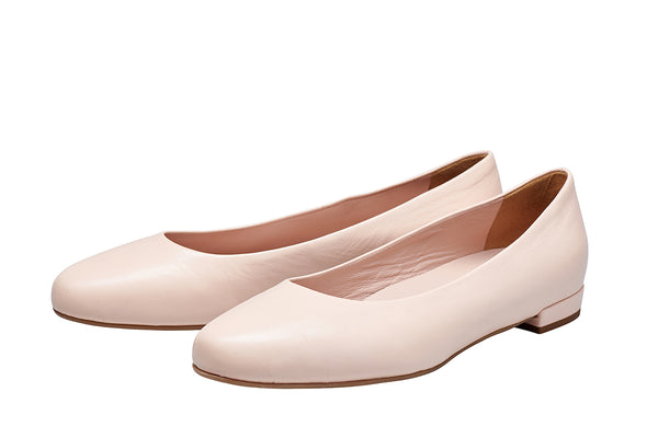 Louise M Classic Nappa Flat in Tea (pale pink)